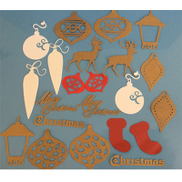 Lucky Dip Christmas Die Cut Shapes Kraft, Red & White
