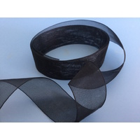 Organza Black 25mm Ribbon x 5 Mtrs