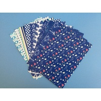 Blue & White Patterned Paper Pack