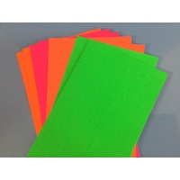 Fluorescent Card Assorted x 10 sheets 13.5cmx27cm