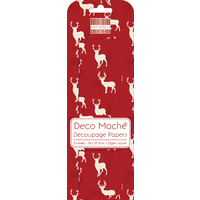 Deco' Mache' Red Stag Decoupage Papers