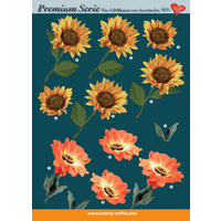 Sunflower & Poppy Floral Paper Tole