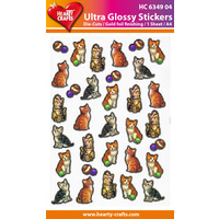 Gold Foil Kitten & Toys Glossy Stickers