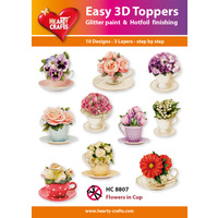 Hearty Crafts Teacups & Flowers Die Cut Paper Tole