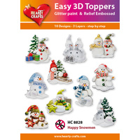 Hearty Crafts Happy Christmas Snowmen Die Cut Paper Tole