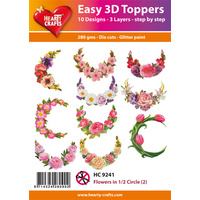 Hearty Crafts Flowers in 1/2 Circle Die Cut Paper Tole