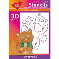 Hearty Crafts Cat 3D Stencil 20cm x 30cm