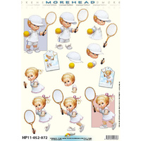Tennis Playing Toddlers Paper Tole