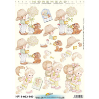 Gardening Toddlers & Flowers Paper Tole
