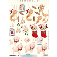 Christmas Squirrel, Rabbit & Piglet Paper Tole