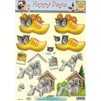 Kittens & Dogs in Clogs Paper Tole