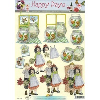 Vintage Children, Flowers & Goldfish Bowl Paper Tole