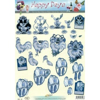 Birds in Blue Paper Tole