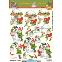 Snowman & Elves Paper Tole Sheet