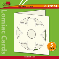 Die Cut Cards Square with Flower x 5 Ivory