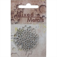 Mixed Metals Antique Silver Floral & Hearts Medallion