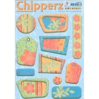 Hawaii Floral Chipboard Die Cut Self Adhesive Card Toppers