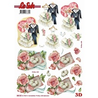 Le Suh Bride & Groom Wedding Outfits & Invite Die Cut Paper Tole