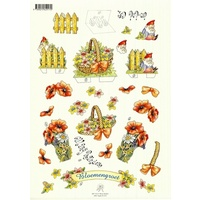 Gnomes & Poppies Pop Up Paper Tole
