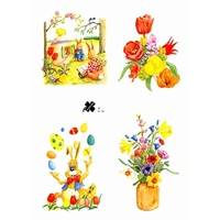 Rabbits & Spring Flowers Decoupage