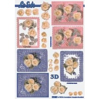 Roses with Pink & Blue Tags Paper Tole Sheet