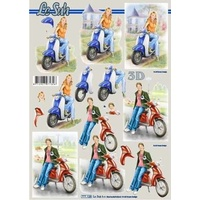 Girls on Mopeds Paper Tole