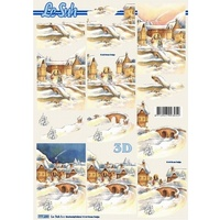 Vintage Village in the Snow Paper Tole