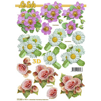 Daisy & Roses Flower Paper Tole Sheet