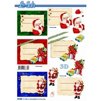 Santa & Presents Gift Tags Paper Tole