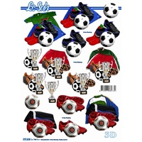Soccer Kit, Cup & Ball Paper Tole Sheet