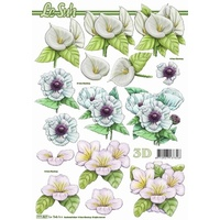 White Flower Paper Tole Sheet