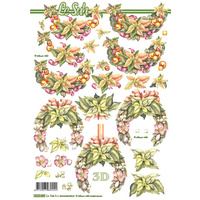 Poinsettia Wreaths Christmas Paper Tole