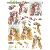 Flower Ladies 3 Paper Tole