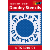 Happy Birthday Square Stencil