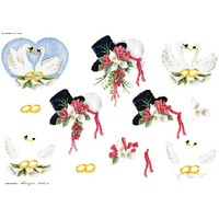 Wedding swans & Hat Paper Tole