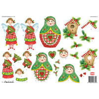 Christmas Fairy, Babushka and Birdhouse Paper Tole