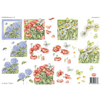 Hydrangea, Daisies and Poppies Flower Paper Tole Sheet
