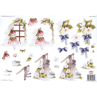 Cute Girly and Flowers Paper Tole Sheet