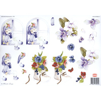 Cute boy and Flowers Paper Tole Sheet