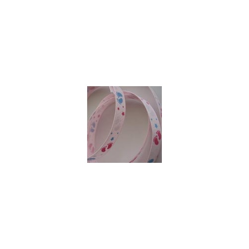 Grosgrain Woven Edge Printed with Footprints Baby Pink 9mm x 5mtrs