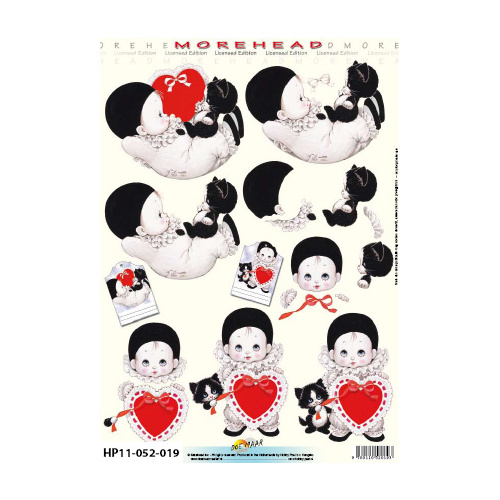 Black & White Babies & Red Hearts Paper Tole