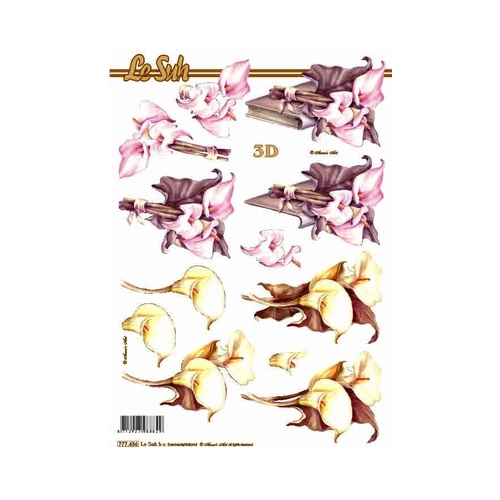 White & Grey Lily Paper Tole Sheet