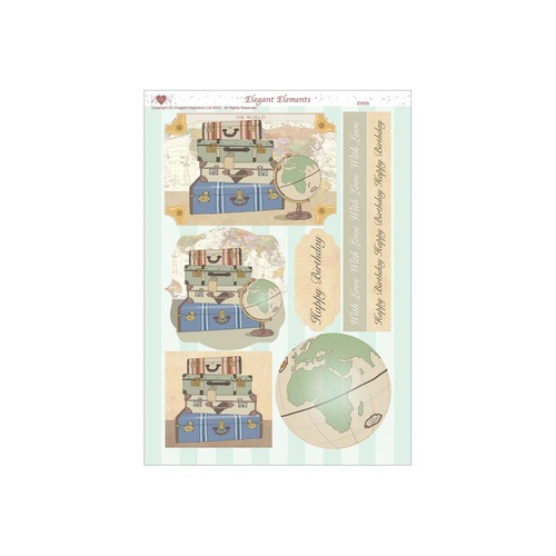 Men's Travel Elegant Elements Die Cut Card Topper