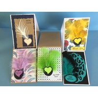 Feathers and Hearts Card Making Kit - Assorted Colours