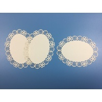 Flower & Circle Oval Laser Cut Ivory Card Layers x 3