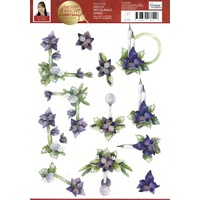 Merry & Bright Violet Florals Die Cut Paper Tole Decoupage Sheet