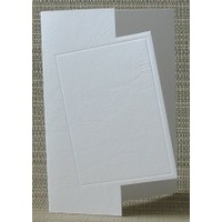 Cut Out Rectangle  Embossed Shaped Cards White Leathergrain x 10 with Envelopes