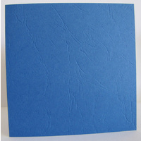 Cut Out Circle Embossed Shaped Square Cards Royal Blue Leathergrain x 10 with Envelopes