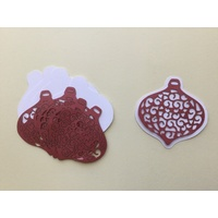 Laser Cut Christmas Lacy Red Bauble & Shadow Layer