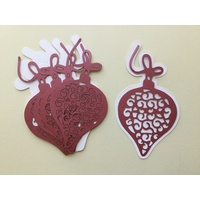 Laser Cut Christmas Decorative Lacy Red Bauble & Shadow Layer